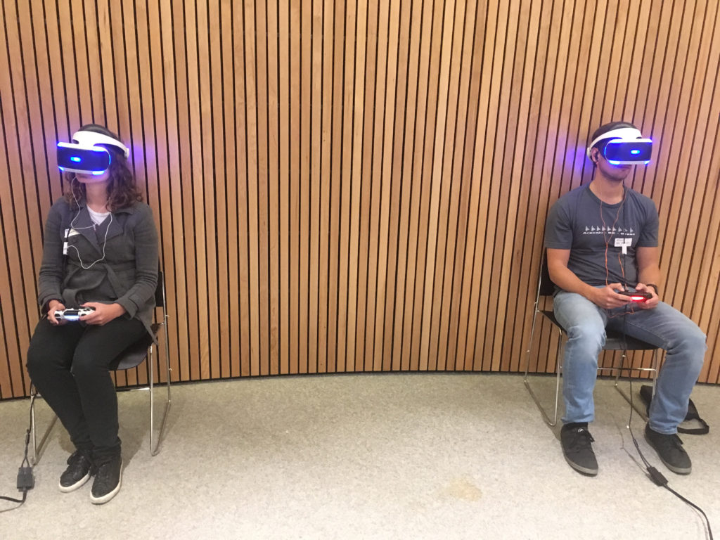 Workshop participants on the new PlayStation VR